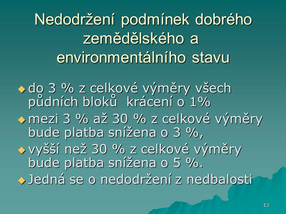 13 Nedodržení podmínek dobrého zemědělského a environmentálního stavu  do 3 % z celkové výměry všech půdních bloků krácení o 1%  mezi 3 % až 30 % z