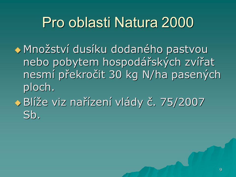 9 Pro oblasti Natura 2000  Množství dusíku dodaného pastvou nebo pobytem hospodářských zvířat nesmí překročit 30 kg N/ha pasených ploch.  Blíže viz
