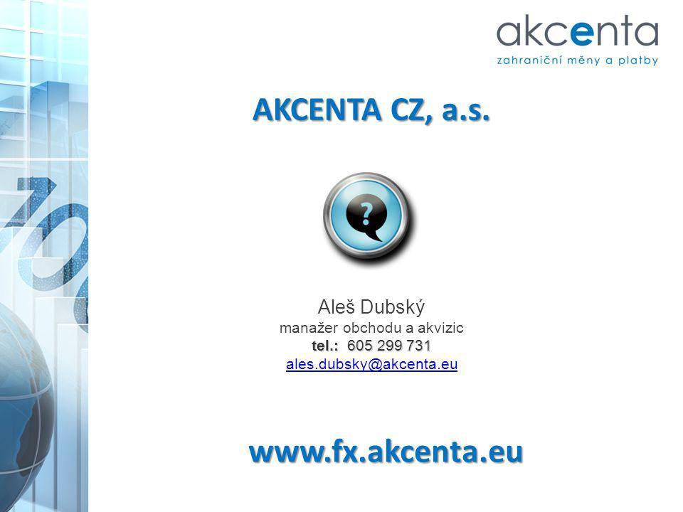 www.fx.akcenta.eu Aleš Dubský manažer obchodu a akvizic tel.: 605 299 731 ales.dubsky@akcenta.eu AKCENTA CZ, a.s.