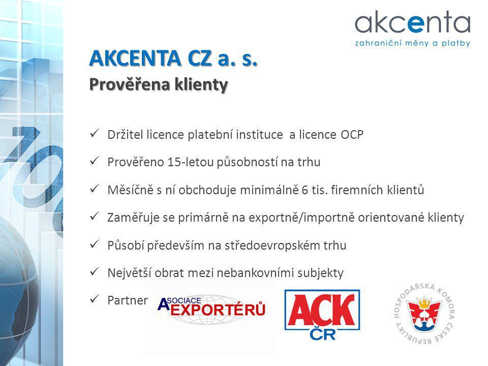 AKCENTA CZ a. s. Prověřena klienty Držitel licence platební instituce a licence OCP Prověřeno 15-letou působností na trhu Měsíčně s ní obchoduje minim