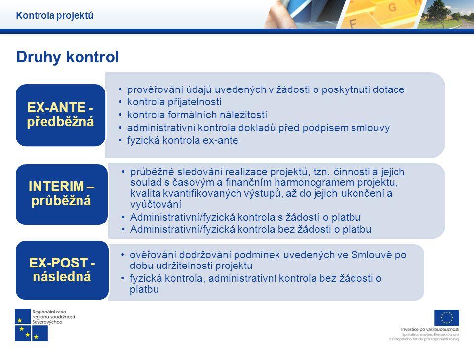 Druhy kontrol Kontrola projektů prověřování údajů uvedených v žádosti o poskytnutí dotace kontrola přijatelnosti kontrola formálních náležitostí admin