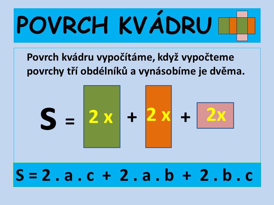 POVRCH KVÁDRU Povrch kvádru vypočítáme, když vypočteme povrchy tří obdélníků a vynásobíme je dvěma. 2 x ++ s = S = 2. a. c + 2. a. b + 2. b. c