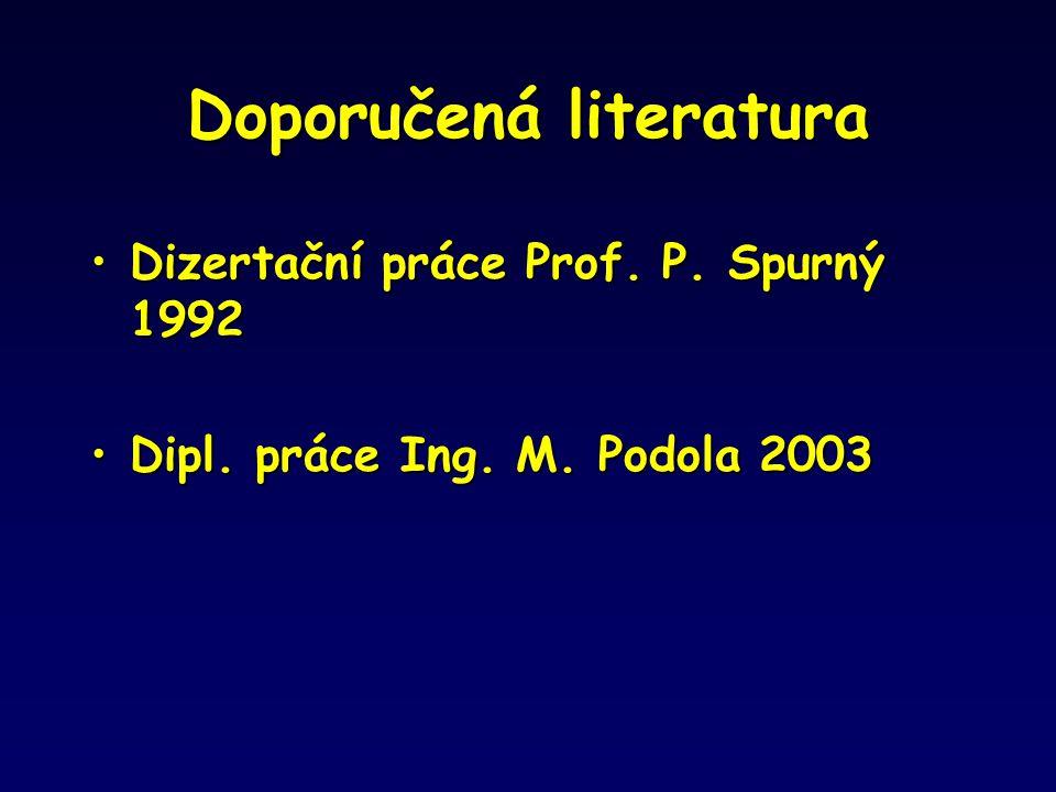 Doporučená literatura Dizertační práce Prof. P. Spurný 1992Dizertační práce Prof. P. Spurný 1992 Dipl. práce Ing. M. Podola 2003Dipl. práce Ing. M. Po