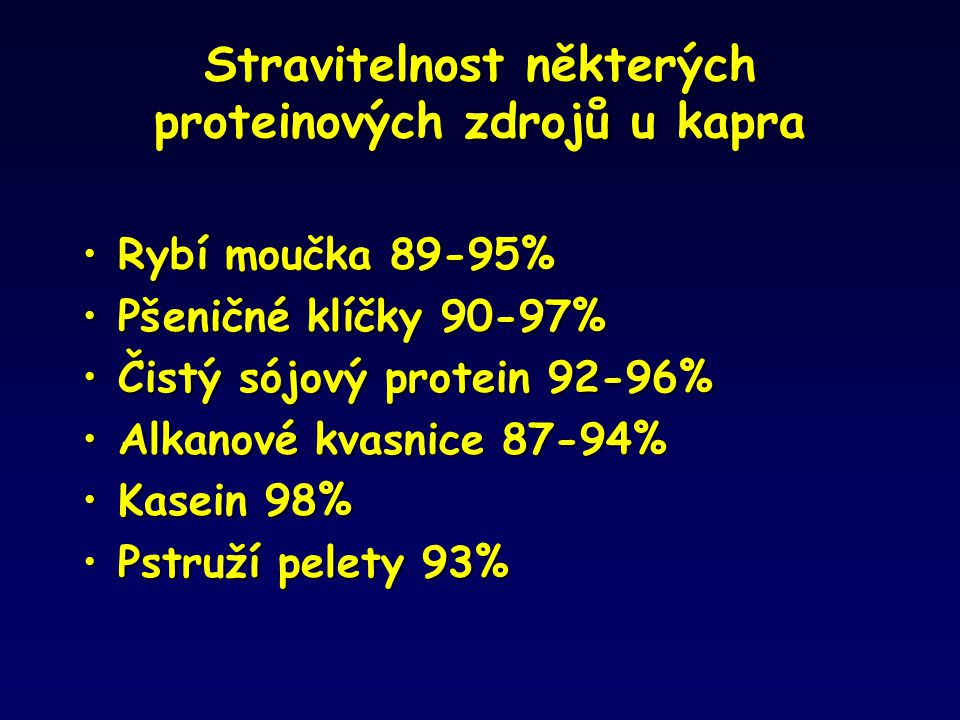 Stravitelnost některých proteinových zdrojů u kapra Rybí moučka 89-95%Rybí moučka 89-95% Pšeničné klíčky 90-97%Pšeničné klíčky 90-97% Čistý sójový pro