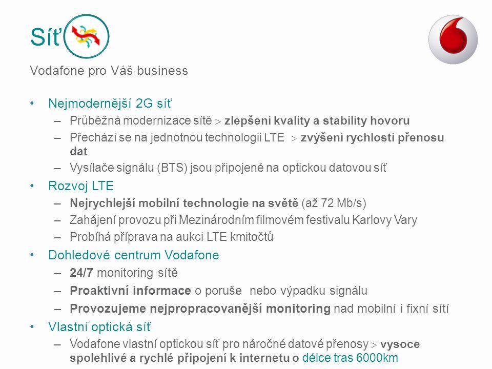 Nejmodernější 2G síť –Průběžná modernizace sítě  zlepšení kvality a stability hovoru –Přechází se na jednotnou technologii LTE  zvýšení rychlosti př