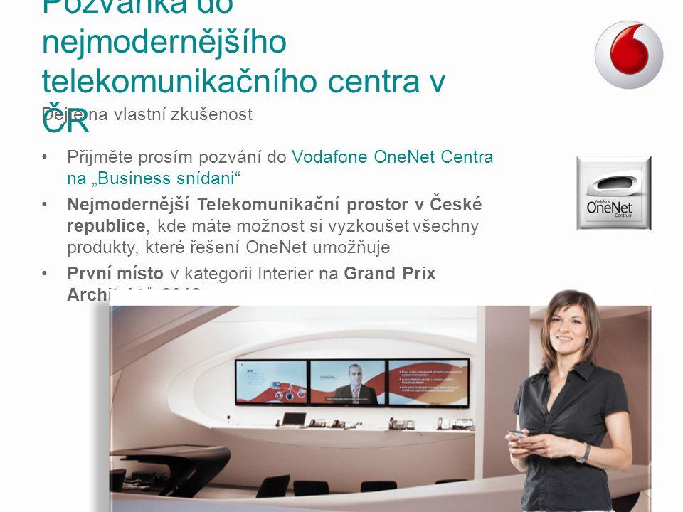 """Přijměte prosím pozvání do Vodafone OneNet Centra na """"Business snídani"""" Nejmodernější Telekomunikační prostor v České republice, kde máte možnost si v"""