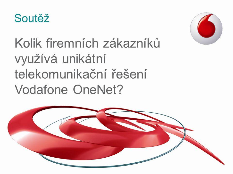 Péče Vodafone pro Váš business 24/7 zákaznická podpora –Kontaktní osoba na telefonu v jakoukoli denní i noční hodinu 365 dní v roce –Přidělení Osobního konzultanta na Lince péče o významné zákazníky –Váš hovor odbavíme v průměru do 7 vteřin –94 % našich zákazníků hodnotí péči známkou 9 nebo 10 (na škále 1 – 10) Obchodní zástupce pro firemní zákazníky –Exkluzivní péče –Pravidelné návštěvy u klienta –Rozvoj businessu zákazníka OneNet samoobsluha –V České republice unikátní řešení pro ovládání a správu Vašich služeb u Vodafone Vše na jednom místě –Stačí jen připojení k Internetu a můžete bezpečně měnit Vaše služby odkudkoli, i z mobilního zařízení –Všem našim zákazníkům je k dispozici zdarma 24 hodin denně 7 dní v týdnu