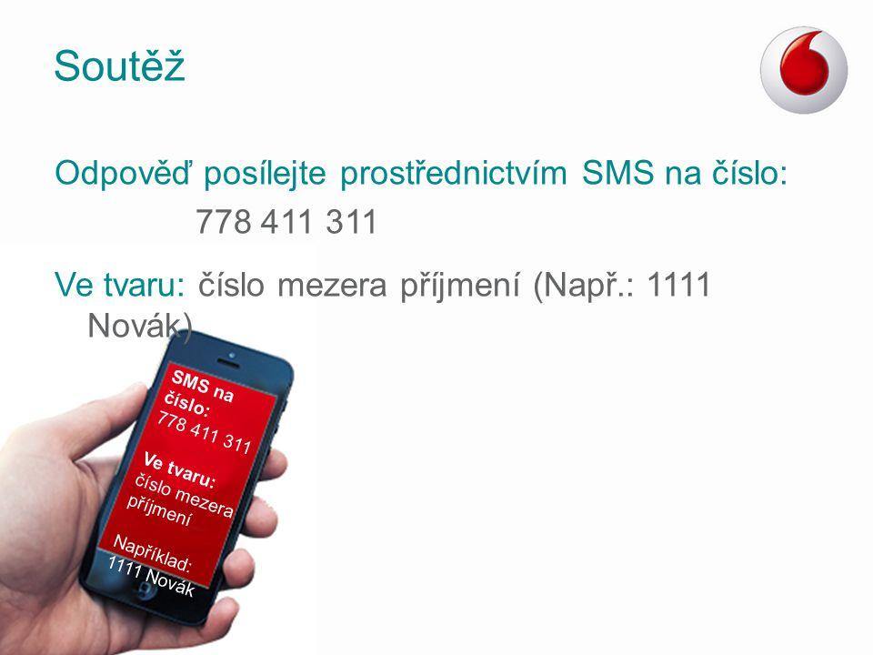 Soutěž Odpověď posílejte prostřednictvím SMS na číslo: 778 411 311 Ve tvaru: číslo mezera příjmení (Např.: 1111 Novák) SMS na číslo: 778 411 311 Ve tv