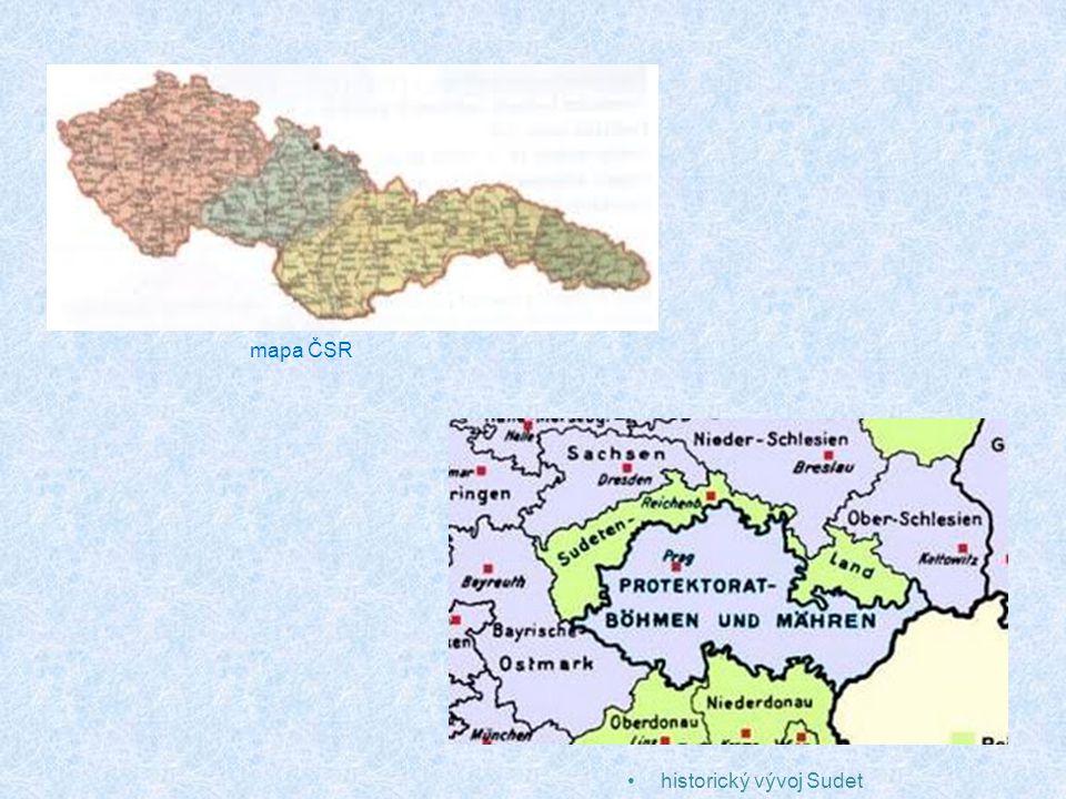 historický vývoj Sudet mapa ČSR