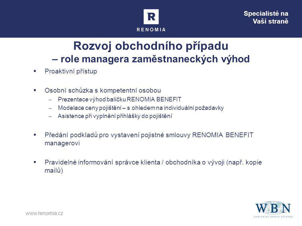 Specialisté na Vaší straně www.renomia.cz Rozvoj obchodního případu – role managera zaměstnaneckých výhod  Proaktivní přístup  Osobní schůzka s komp