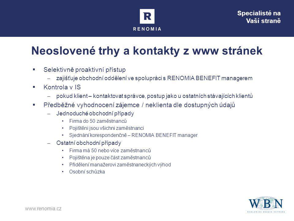 Specialisté na Vaší straně www.renomia.cz Neoslovené trhy a kontakty z www stránek  Selektivně proaktivní přístup  zajišťuje obchodní oddělení ve sp