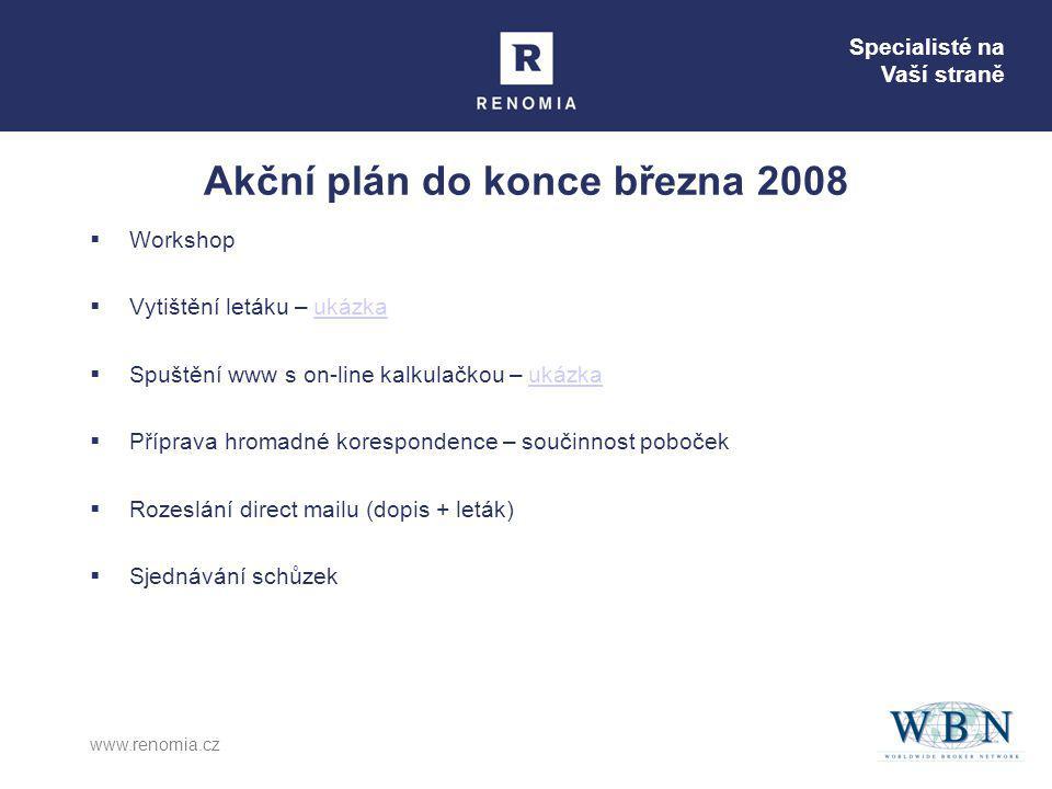Specialisté na Vaší straně www.renomia.cz Akční plán do konce března 2008  Workshop  Vytištění letáku – ukázkaukázka  Spuštění www s on-line kalkul