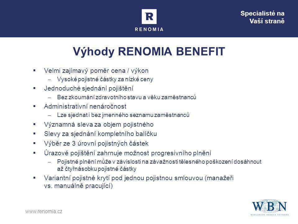 Specialisté na Vaší straně www.renomia.cz Výhody RENOMIA BENEFIT  Velmi zajímavý poměr cena / výkon  Vysoké pojistné částky za nízké ceny  Jednoduc