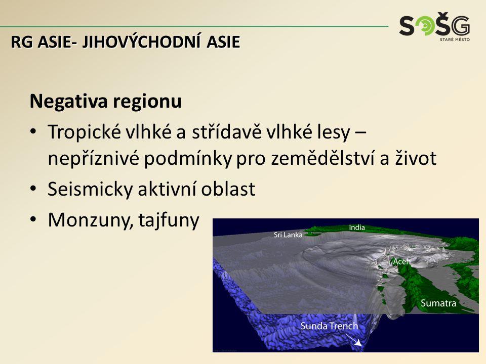 Negativa regionu Tropické vlhké a střídavě vlhké lesy – nepříznivé podmínky pro zemědělství a život Seismicky aktivní oblast Monzuny, tajfuny RG ASIE- JIHOVÝCHODNÍ ASIE