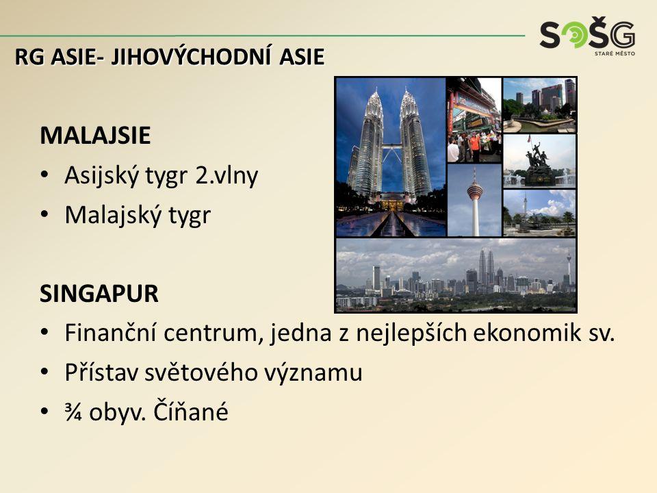 MALAJSIE Asijský tygr 2.vlny Malajský tygr SINGAPUR Finanční centrum, jedna z nejlepších ekonomik sv.