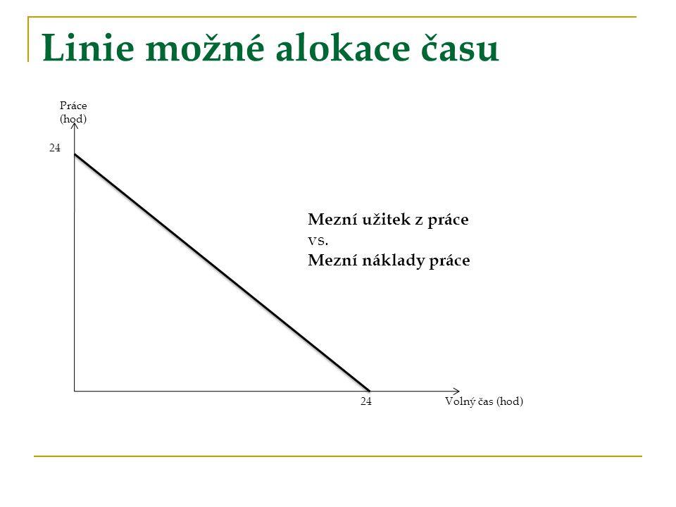 Linie možné alokace času Práce (hod) Volný čas (hod) 24 Mezní užitek z práce vs. Mezní náklady práce