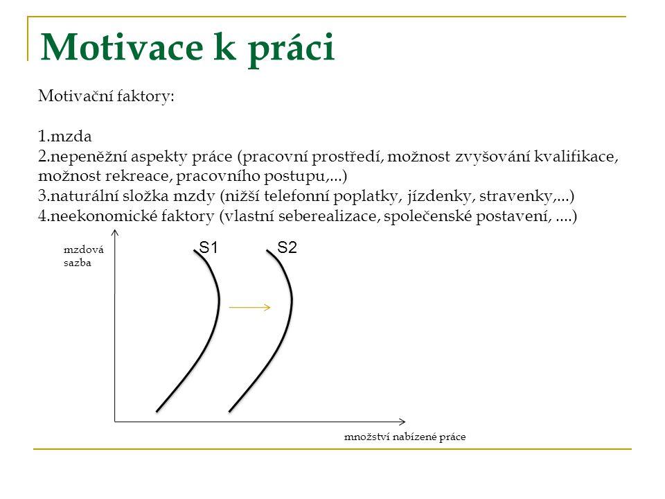Motivace k práci Motivační faktory: 1.mzda 2.nepeněžní aspekty práce (pracovní prostředí, možnost zvyšování kvalifikace, možnost rekreace, pracovního