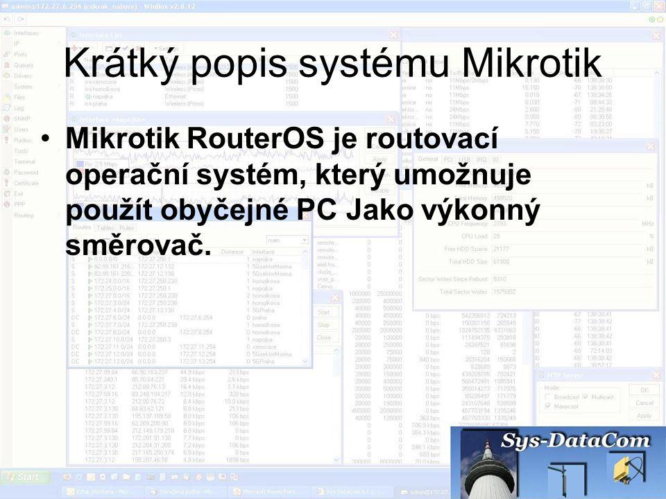 Krátký popis systému Mikrotik Mikrotik RouterOS je routovací operační systém, který umožnuje použít obyčejné PC Jako výkonný směrovač.