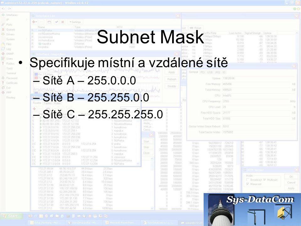 Subnet Mask Specifikuje místní a vzdálené sítě –Sítě A – 255.0.0.0 –Sítě B – 255.255.0.0 –Sítě C – 255.255.255.0