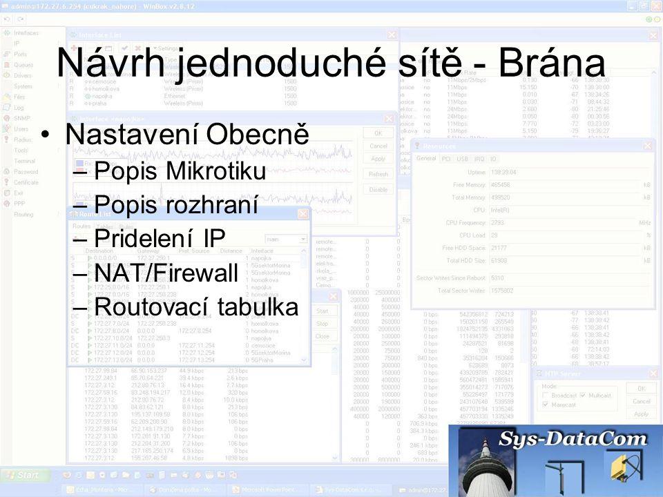 Návrh jednoduché sítě - Brána Nastavení Obecně –Popis Mikrotiku –Popis rozhraní –Pridelení IP –NAT/Firewall –Routovací tabulka