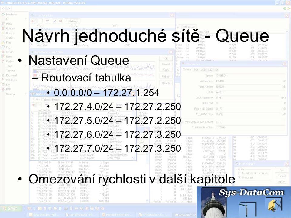 Návrh jednoduché sítě - Queue Nastavení Queue –Routovací tabulka 0.0.0.0/0 – 172.27.1.254 172.27.4.0/24 – 172.27.2.250 172.27.5.0/24 – 172.27.2.250 17