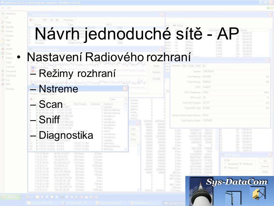 Návrh jednoduché sítě - AP Nastavení Radiového rozhraní –Režimy rozhraní –Nstreme –Scan –Sniff –Diagnostika