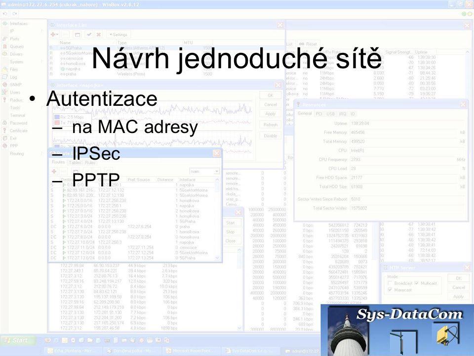Návrh jednoduché sítě Autentizace – na MAC adresy – IPSec – PPTP