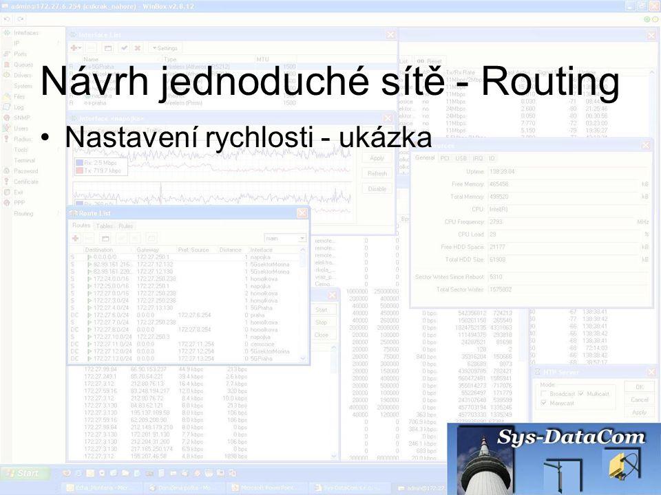 Návrh jednoduché sítě - Routing Nastavení rychlosti - ukázka
