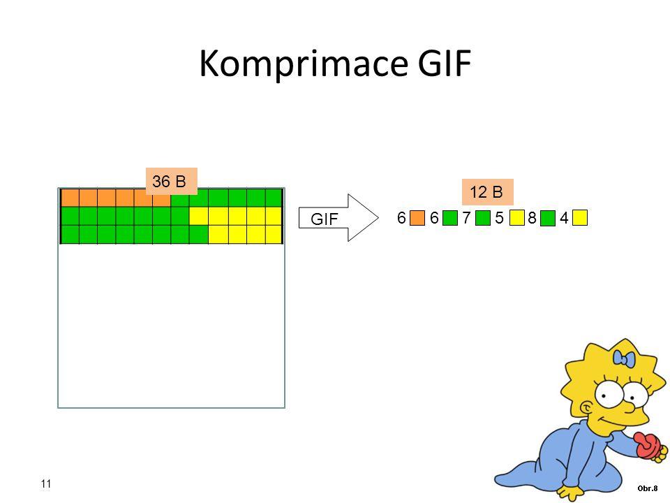 Komprimace GIF GIF 6 6 7 5 8 4 36 B 12 B 11