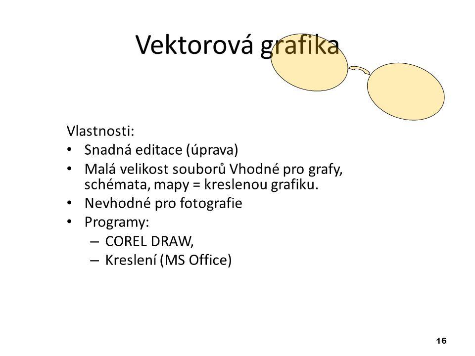 16 Vektorová grafika Vlastnosti: Snadná editace (úprava) Malá velikost souborů Vhodné pro grafy, schémata, mapy = kreslenou grafiku.