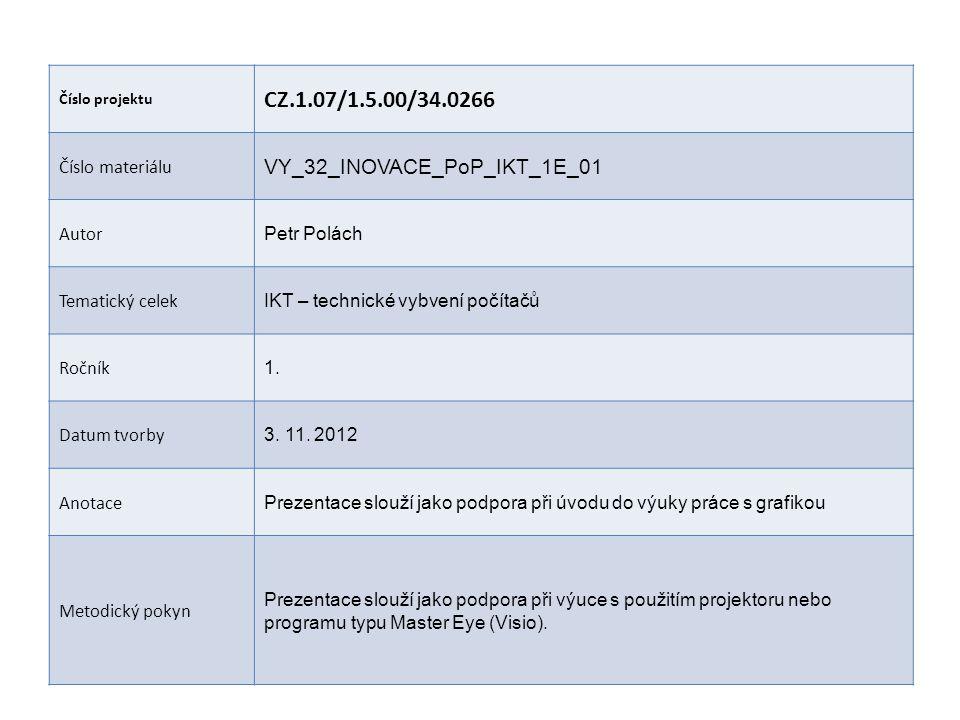 Číslo projektu CZ.1.07/1.5.00/34.0266 Číslo materiálu VY_32_INOVACE_PoP_IKT_1E_01 Autor Petr Polách Tematický celek IKT – technické vybvení počítačů Ročník 1.