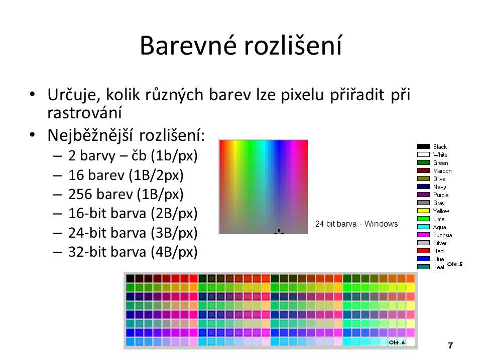 7 Barevné rozlišení Určuje, kolik různých barev lze pixelu přiřadit při rastrování Nejběžnější rozlišení: – 2 barvy – čb (1b/px) – 16 barev (1B/2px) – 256 barev (1B/px) – 16-bit barva (2B/px) – 24-bit barva (3B/px) – 32-bit barva (4B/px) 24 bit barva - Windows