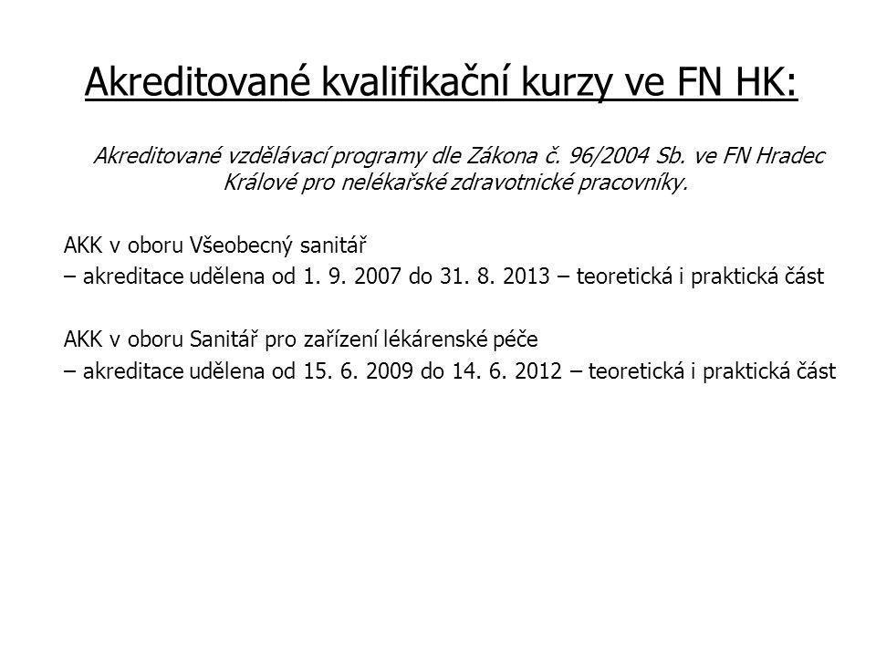 Akreditované kvalifikační kurzy ve FN HK: Akreditované vzdělávací programy dle Zákona č.