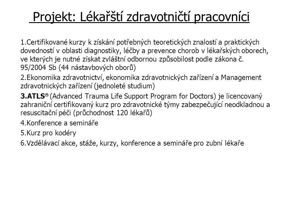 Projekt: Lékařští zdravotničtí pracovníci 1.Certifikované kurzy k získání potřebných teoretických znalostí a praktických dovedností v oblasti diagnostiky, léčby a prevence chorob v lékařských oborech, ve kterých je nutné získat zvláštní odbornou způsobilost podle zákona č.