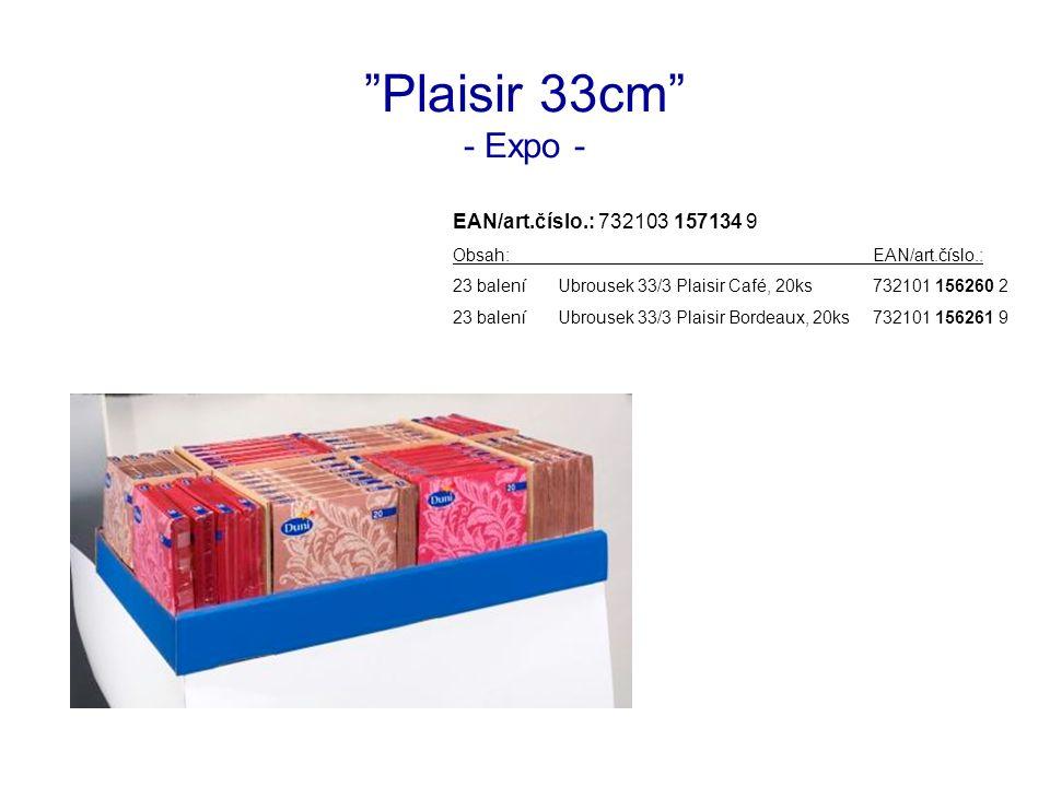 Plaisir 33cm - Expo - EAN/art.číslo.: 732103 157134 9 Obsah:EAN/art.číslo.: 23 baleníUbrousek 33/3 Plaisir Café, 20ks732101 156260 2 23 baleníUbrousek 33/3 Plaisir Bordeaux, 20ks732101 156261 9