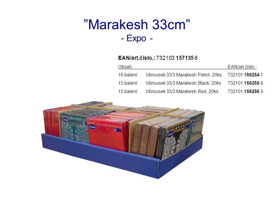 Marakesh 33cm - Expo - EAN/art.číslo.: 732103 157135 6 Obsah:EAN/art.číslo.: 16 baleníUbrousek 33/3 Marakesh Petrol, 20ks732101 156254 1 15 baleníUbrousek 33/3 Marakesh Black, 20ks732101 156255 8 15 baleníUbrousek 33/3 Marakesh Red, 20ks732101 156256 5