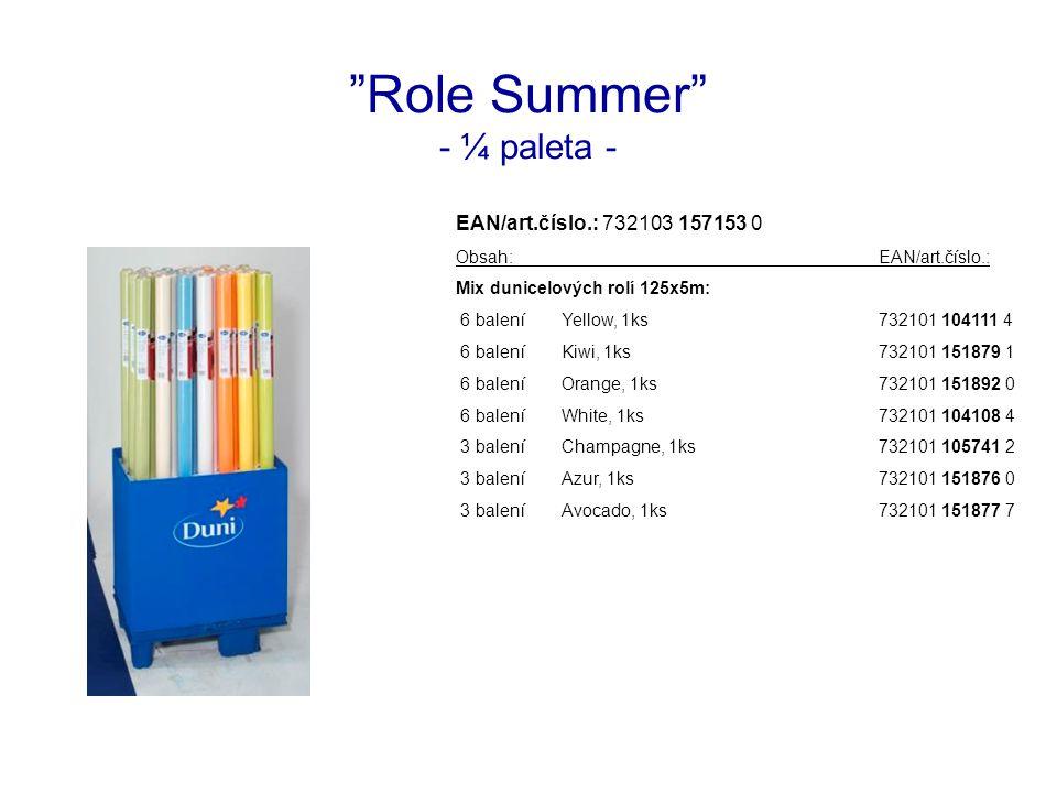 Role Summer - ¼ paleta - EAN/art.číslo.: 732103 157153 0 Obsah:EAN/art.číslo.: Mix dunicelových rolí 125x5m: 6 baleníYellow, 1ks732101 104111 4 6 baleníKiwi, 1ks732101 151879 1 6 baleníOrange, 1ks732101 151892 0 6 baleníWhite, 1ks732101 104108 4 3 baleníChampagne, 1ks732101 105741 2 3 baleníAzur, 1ks732101 151876 0 3 baleníAvocado, 1ks732101 151877 7