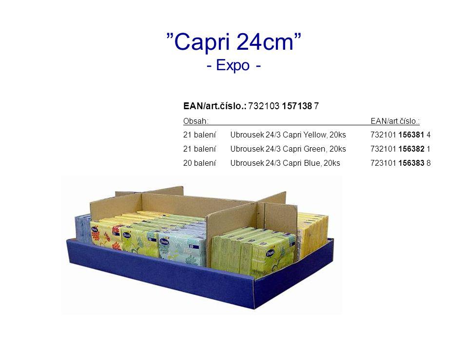 Capri 24cm - Expo - EAN/art.číslo.: 732103 157138 7 Obsah:EAN/art.číslo.: 21 baleníUbrousek 24/3 Capri Yellow, 20ks732101 156381 4 21 baleníUbrousek 24/3 Capri Green, 20ks732101 156382 1 20 baleníUbrousek 24/3 Capri Blue, 20ks723101 156383 8