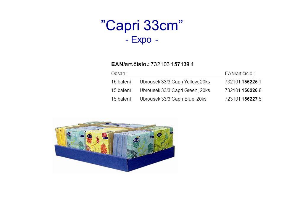 Capri 33cm - Expo - EAN/art.číslo.: 732103 157139 4 Obsah:EAN/art.číslo.: 16 baleníUbrousek 33/3 Capri Yellow, 20ks732101 156225 1 15 baleníUbrousek 33/3 Capri Green, 20ks732101 156226 8 15 baleníUbrousek 33/3 Capri Blue, 20ks723101 156227 5