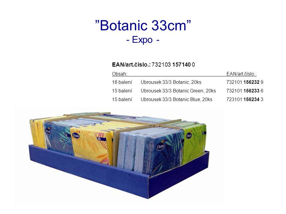Botanic 33cm - Expo - EAN/art.číslo.: 732103 157140 0 Obsah:EAN/art.číslo.: 16 baleníUbrousek 33/3 Botanic, 20ks732101 156232 9 15 baleníUbrousek 33/3 Botanic Green, 20ks732101 156233 6 15 baleníUbrousek 33/3 Botanic Blue, 20ks723101 156234 3