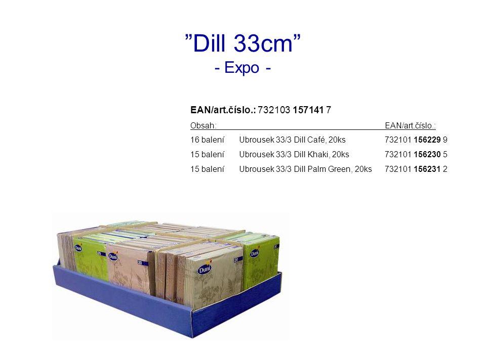 Dill 33cm - Expo - EAN/art.číslo.: 732103 157141 7 Obsah:EAN/art.číslo.: 16 baleníUbrousek 33/3 Dill Café, 20ks732101 156229 9 15 baleníUbrousek 33/3 Dill Khaki, 20ks732101 156230 5 15 baleníUbrousek 33/3 Dill Palm Green, 20ks732101 156231 2