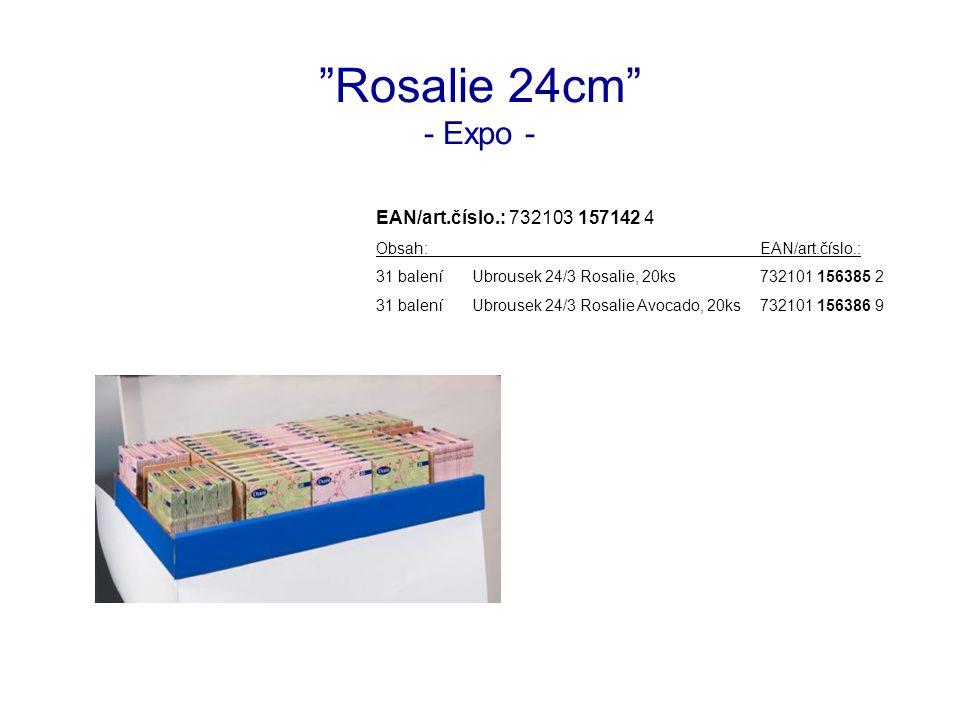 Rosalie 24cm - Expo - EAN/art.číslo.: 732103 157142 4 Obsah:EAN/art.číslo.: 31 baleníUbrousek 24/3 Rosalie, 20ks732101 156385 2 31 baleníUbrousek 24/3 Rosalie Avocado, 20ks732101 156386 9