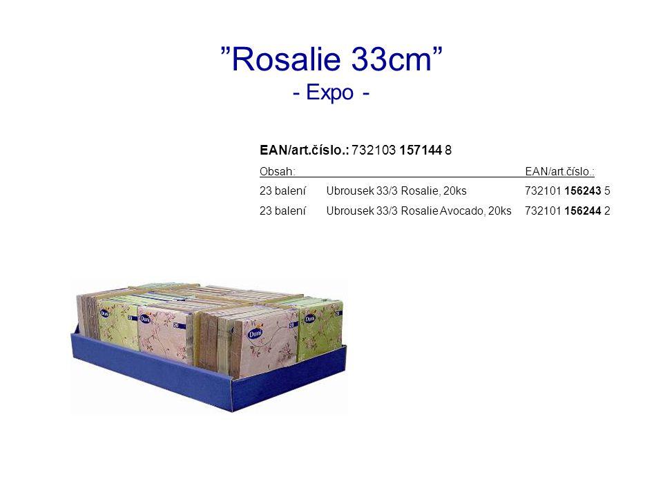 Rosalie 33cm - Expo - EAN/art.číslo.: 732103 157144 8 Obsah:EAN/art.číslo.: 23 baleníUbrousek 33/3 Rosalie, 20ks732101 156243 5 23 baleníUbrousek 33/3 Rosalie Avocado, 20ks732101 156244 2