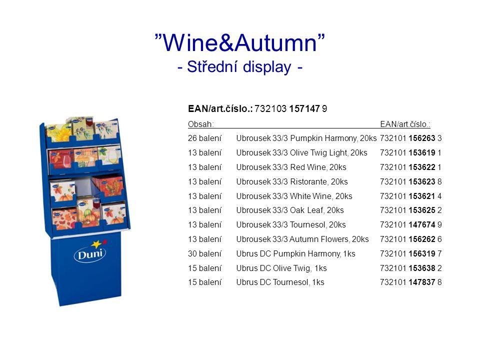 """""""Wine&Autumn"""" - Střední display - EAN/art.číslo.: 732103 157147 9 Obsah:EAN/art.číslo.: 26 baleníUbrousek 33/3 Pumpkin Harmony, 20ks732101 156263 3 13"""
