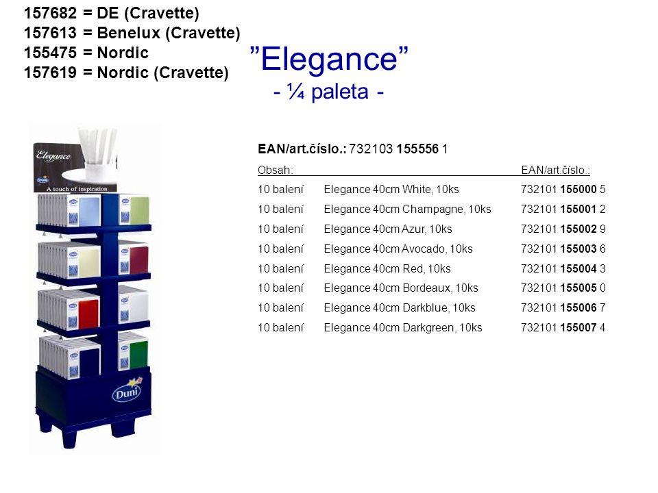 """Elegance"" - ¼ paleta - EAN/art.číslo.: 732103 155556 1 Obsah:EAN/art.číslo.: 10 baleníElegance 40cm White, 10ks732101 155000 5 10 baleníElegance 40cm"