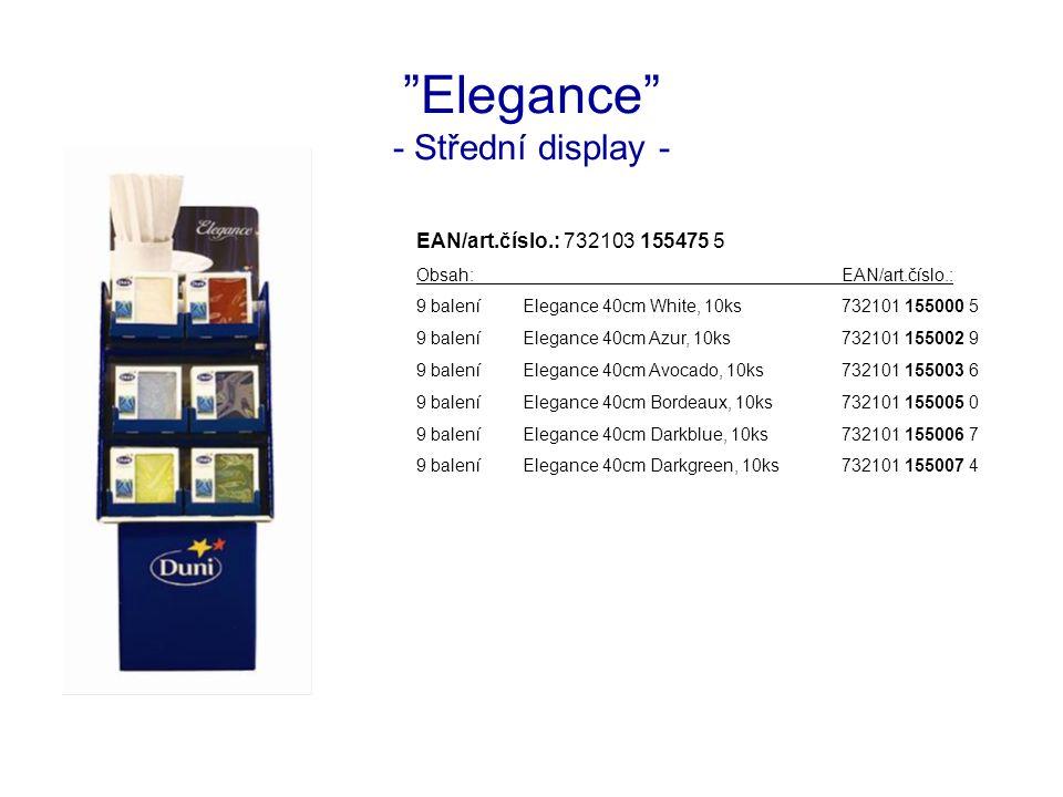 Elegance - Střední display - EAN/art.číslo.: 732103 155475 5 Obsah:EAN/art.číslo.: 9 baleníElegance 40cm White, 10ks732101 155000 5 9 baleníElegance 40cm Azur, 10ks732101 155002 9 9 baleníElegance 40cm Avocado, 10ks732101 155003 6 9 baleníElegance 40cm Bordeaux, 10ks732101 155005 0 9 baleníElegance 40cm Darkblue, 10ks732101 155006 7 9 baleníElegance 40cm Darkgreen, 10ks732101 155007 4