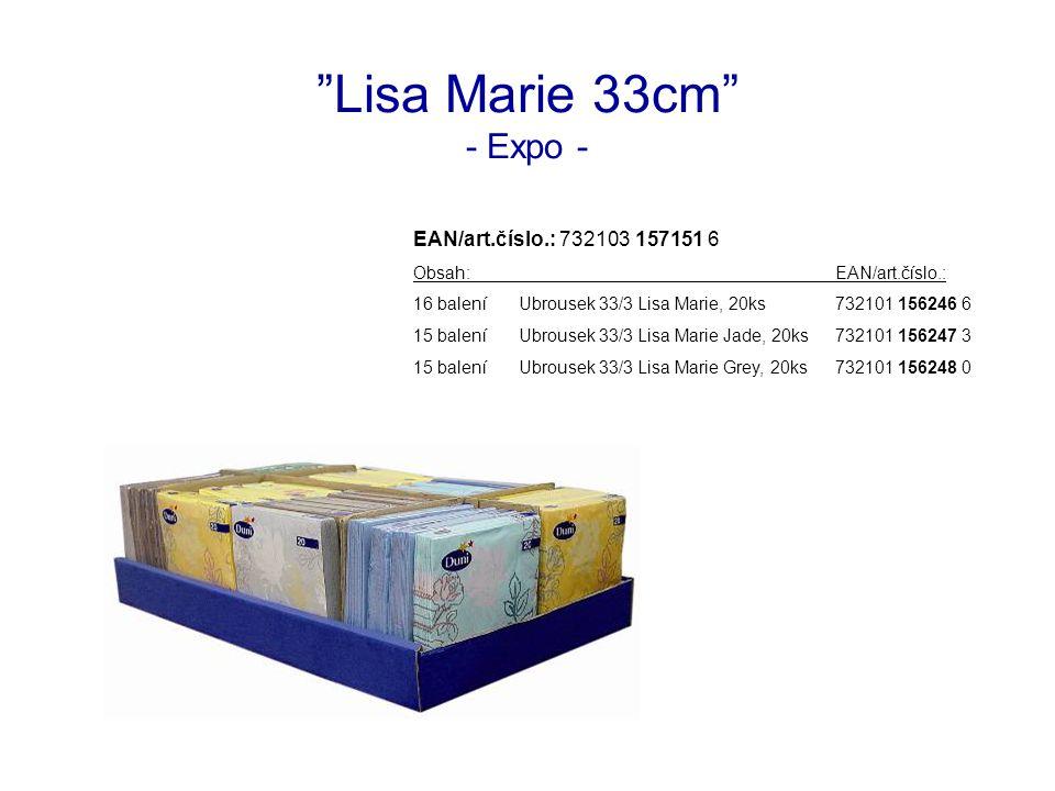 Lisa Marie 33cm - Expo - EAN/art.číslo.: 732103 157151 6 Obsah:EAN/art.číslo.: 16 baleníUbrousek 33/3 Lisa Marie, 20ks732101 156246 6 15 baleníUbrousek 33/3 Lisa Marie Jade, 20ks732101 156247 3 15 baleníUbrousek 33/3 Lisa Marie Grey, 20ks732101 156248 0