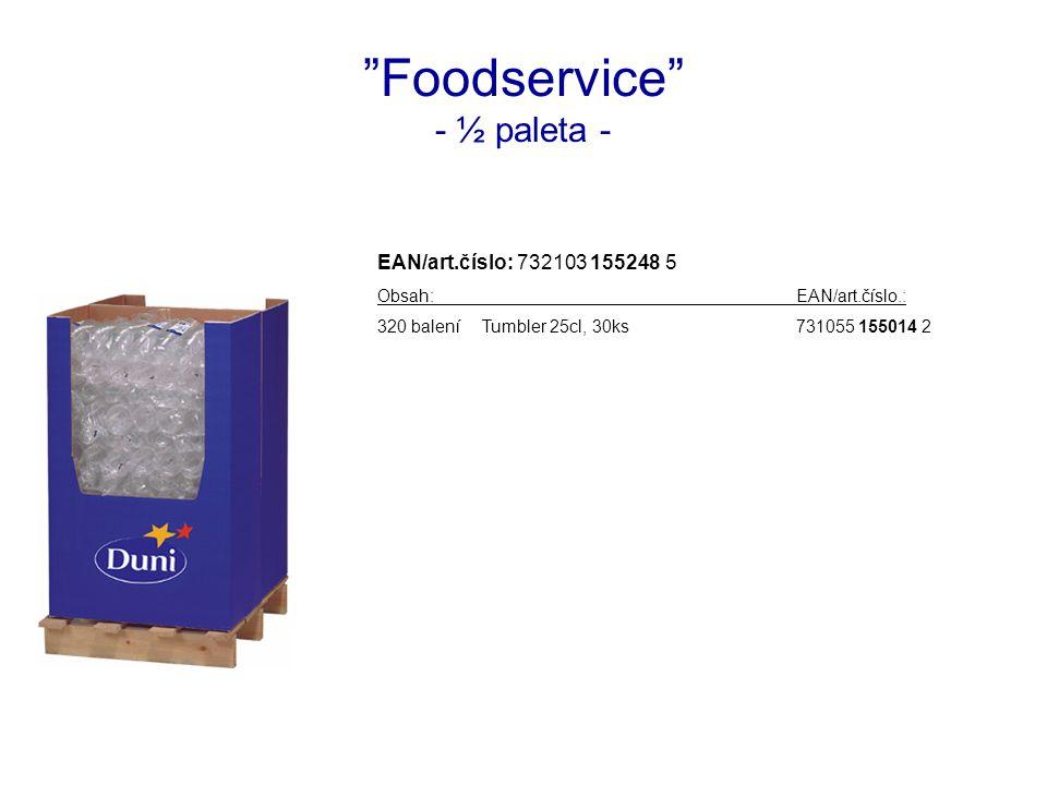 Foodservice - ½ paleta - EAN/art.číslo: 732103 155248 5 Obsah:EAN/art.číslo.: 320 baleníTumbler 25cl, 30ks731055 155014 2