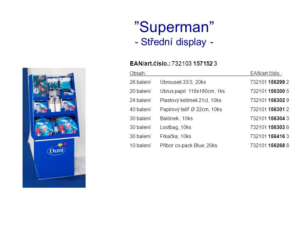 Superman - Střední display - EAN/art.číslo.: 732103 157152 3 Obsah:EAN/art.číslo.: 26 baleníUbrousek 33/3, 20ks732101 156299 2 20 baleníUbrus papír.