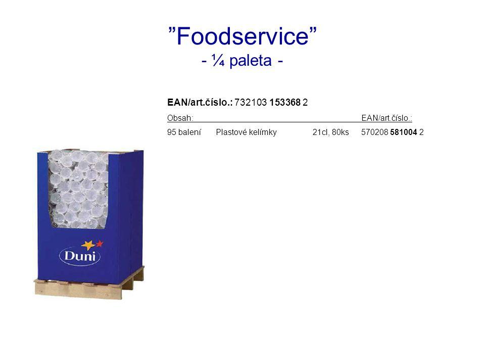 Foodservice - ¼ paleta - EAN/art.číslo.: 732103 153368 2 Obsah:EAN/art.číslo.: 95 baleníPlastové kelímky21cl, 80ks570208 581004 2